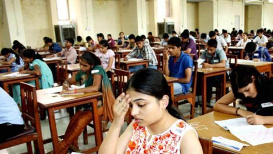 Students taking the entrance exams for MBBScourses at the post-graduation institute of medical science in Rohtak.