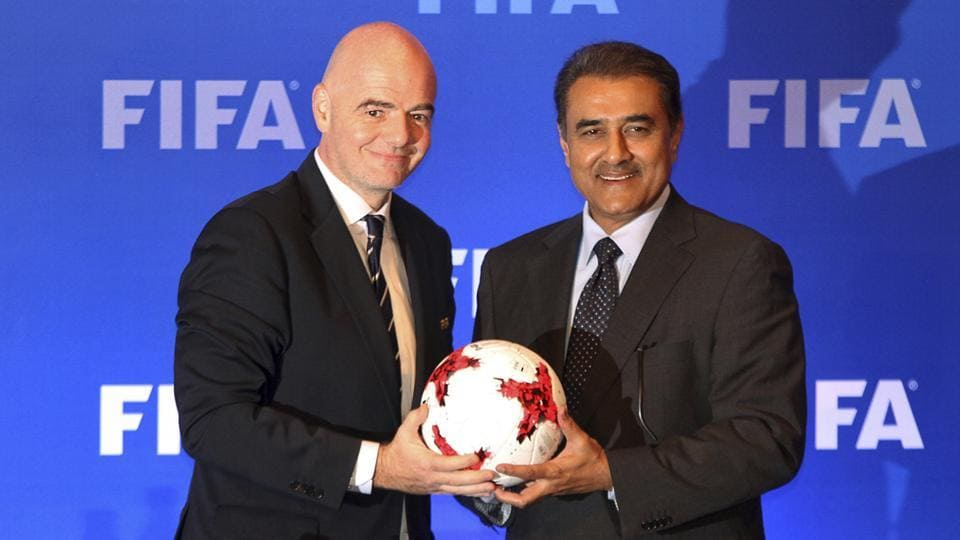 FIFA President Gianni Infantino, left, with All India Football Federation (AIFF) President Praful Patel  at a FIFA U-17 World Cup event.