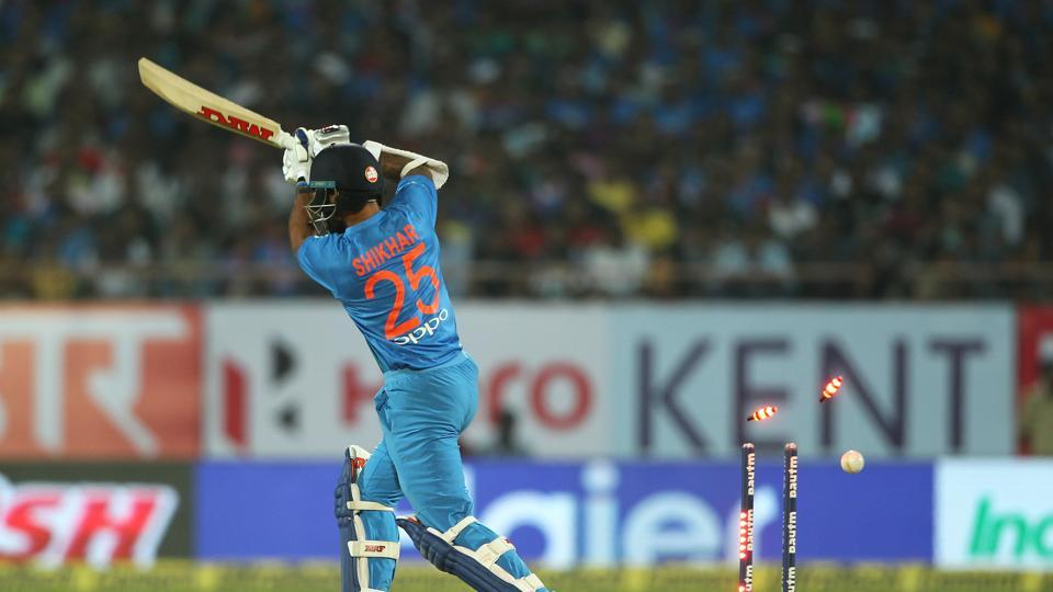 Shikhar Dhawan, who had smashed 80 in the Delhi Twenty20, was cleaned up by Trent Boult as India made a bad start. (BCCI)