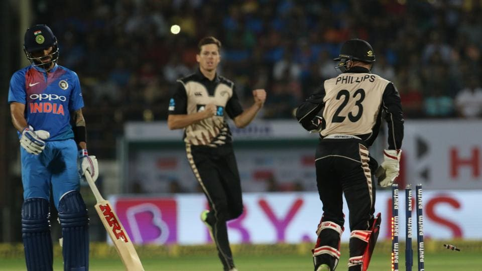 Mitchell Santner snapped up the vital wicket of Kohli as India's batting fell apart. (BCCI)