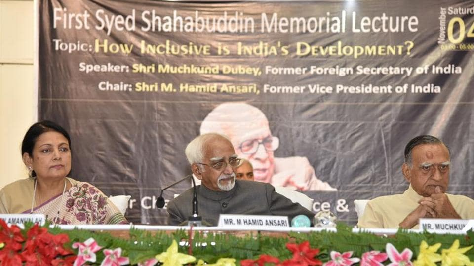Ex Vice President Hamid Ansari at the Syed Shahabuddin memorial lecture in Patna on Saturday.