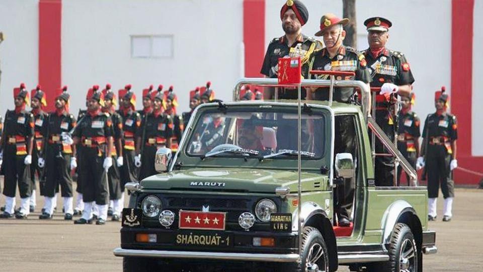 Chief of Army Staff General Bipin Rawat reviews the colour presentation parade at Belgaum in Karnataka on Friday.