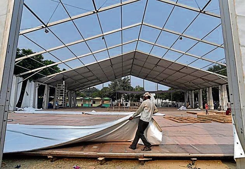 Construction work underway at Pragati Maidan ahead of the India International Trade Fair in New Delhi on Saturday.
