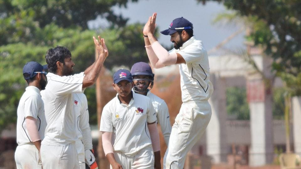 Mumbai players celebrate their win against Odisha in the Ranji Trophy in Bhubaneswar on Saturday.