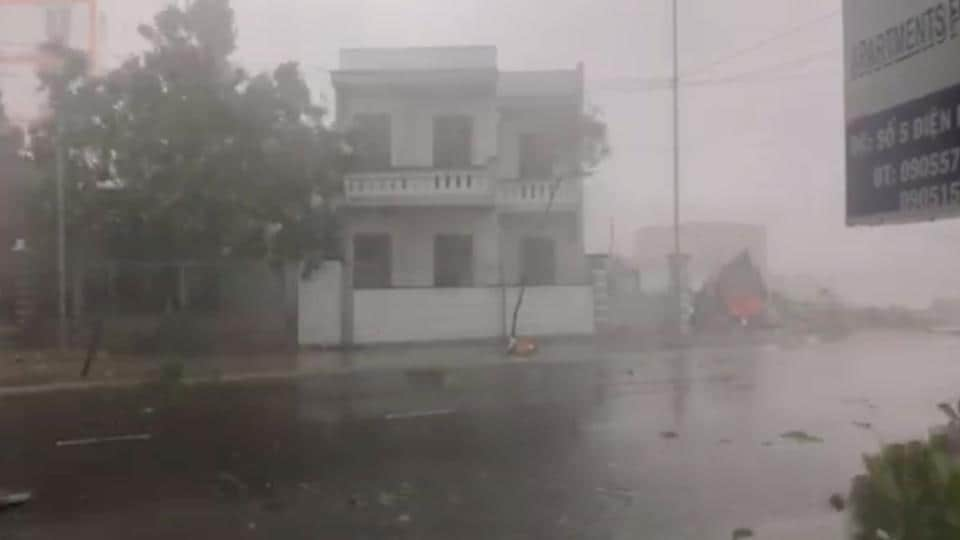 A storm batters a street in Nha Trang, as Typhoon Damrey descends on southern Vietnam, in this still image taken from social media video, November 4.