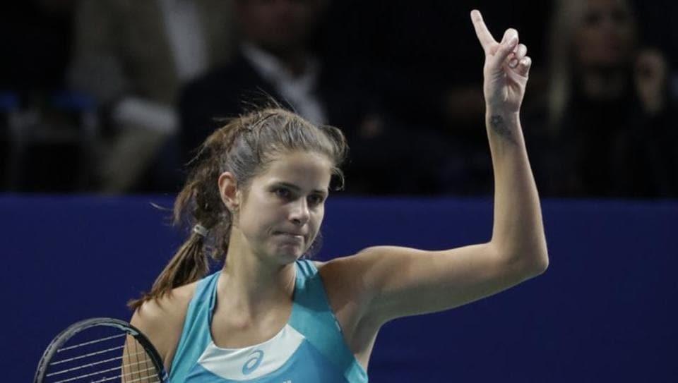 Julia Goerges of Germany reacts during the WTAElite Trophy match against Anastasija Sevastova.