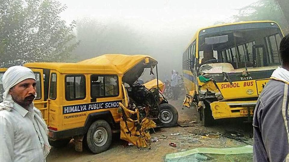 The vehicles of two schools which collided in Hisar district on Saturday.