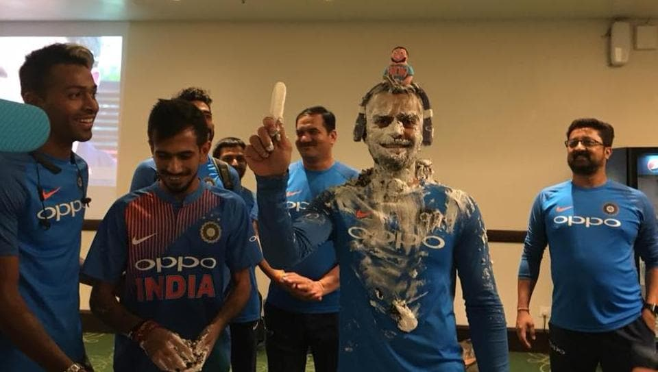 Virat Kohli, who turns 29 today, was smeared with cake by his teammates.