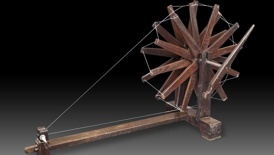 The wooden charkha, or spinning wheel, was one of the most powerful symbols of Mahatma Gandhi's philosophy and politics.
