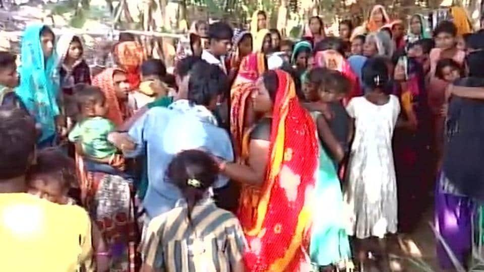 People gather at Hajipur  in Vaishali where nine drowned in river Ganga on November 5, 2017.