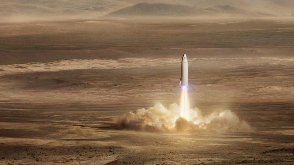 An artist's rendition of SpaceX's new mega-rocket design on Mars.