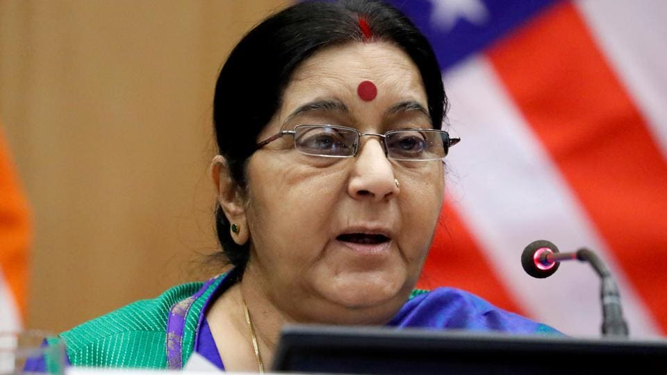 External Affairs Minister Sushma Swaraj in New Delhi, India, October 25, 2017.
