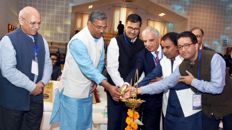 Chief minister TS Rawat and other dignitaries inaugurate a seminar of Uttarakhand's progress in the last 17 years, in Dehradun on Sunday.