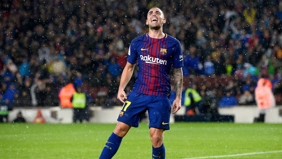 Paco Alcacer made the most of a rare start as his double gave La Liga leaders FC Barcelona a 2-1 home victory over Sevilla FC.