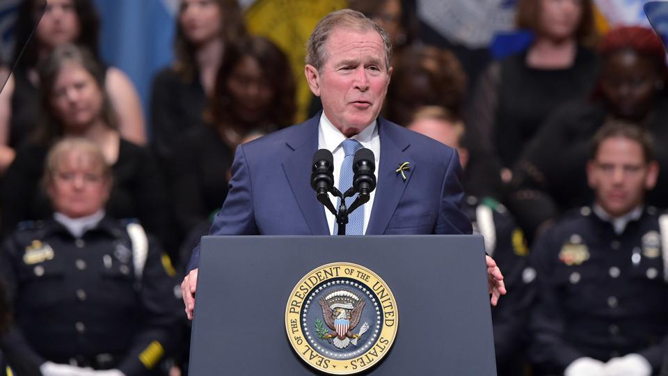 Former US president George W Bush speaking at an interfaith memorial service for the victims of the Dallas police shooting in July 2016.