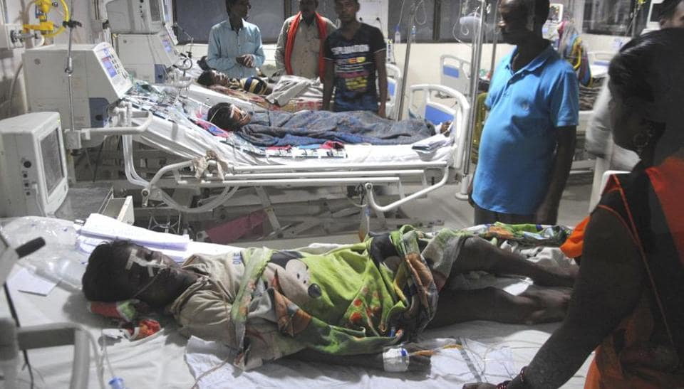 An inside view of a ward of the BRD Hospital in Gorakhpur.