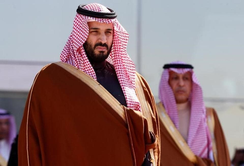 Saudi Crown Prince Mohammed bin Salman attends a graduation ceremony and air show marking the 50th anniversary of the founding of King Faisal Air College in Riyadh, Saudi Arabia.