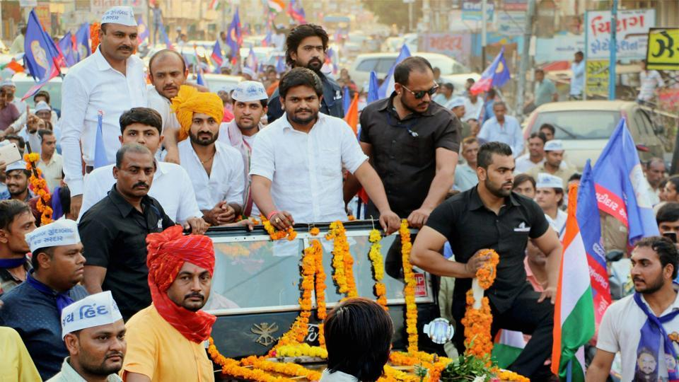 PAAS convener Hardik Patel during a road show in Bhavnagar. The Patel quota stir leader has been protesting against the BJP government and demanding reservation for his community.