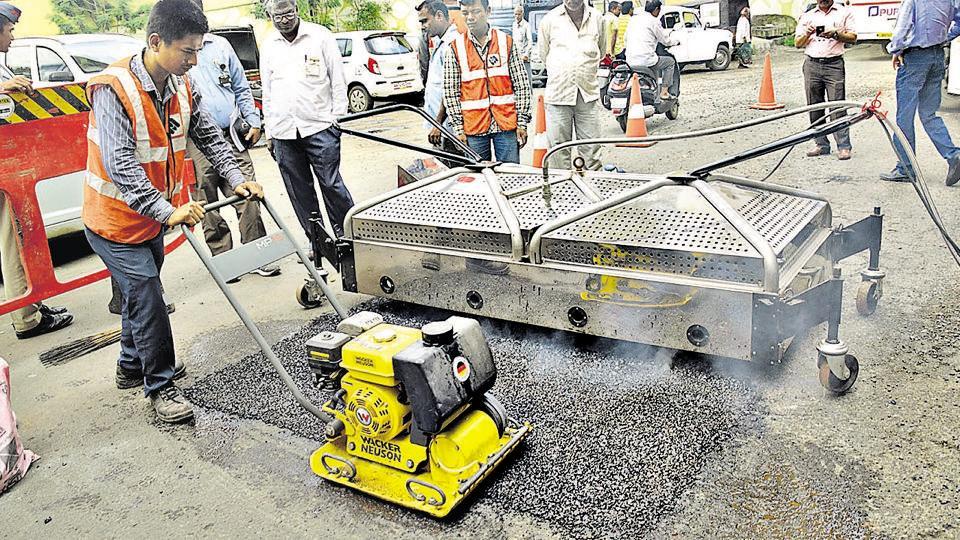 Pimpri Chinchwad Municipal Corporation used JetPatchers on experimental basis to repair potholes on Nashik Phata road.