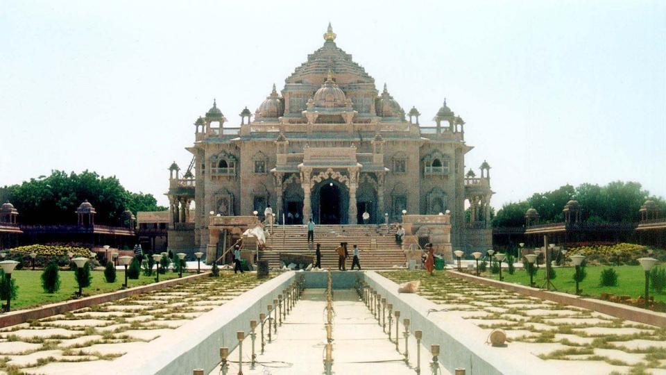 An undated photo shows the Akshardham temple in Gandhinagar.