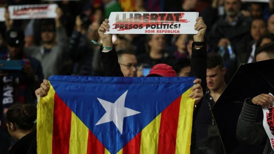 AFC Barcelona fan with a Catalan flag before their La Liga match against Sevilla.