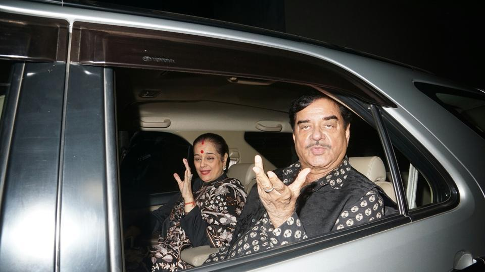 Actor Shatrughan Sinha, along with his wife Poonam Sinha, at a special screening of the film, Ittefaq, in Mumbai.