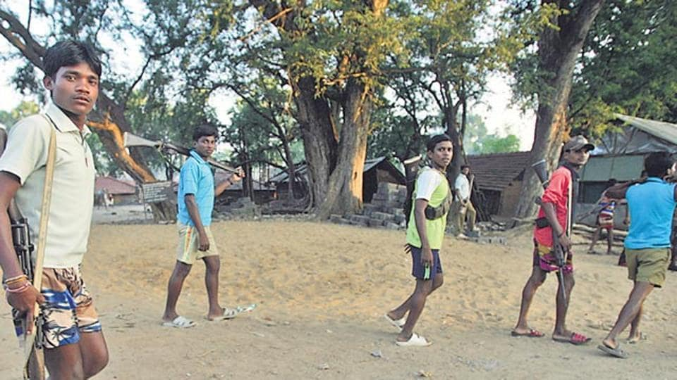 Afile photo shows former SalwaJudummembersat Kurti, arelief camp inDantewada in 2007.