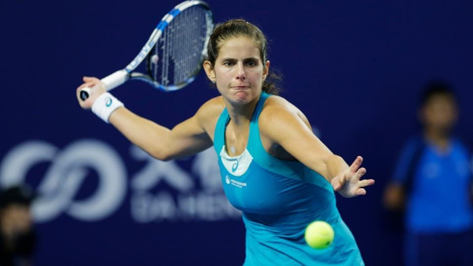 Julia Goerges in action against Coco Vandeweghe during the final of the WTAElite Trophy.