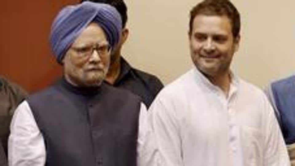 Former prime minister Manmohan Singh and Congress vice president Rahul Gandhi at an event in New Delhi on Tuesday.
