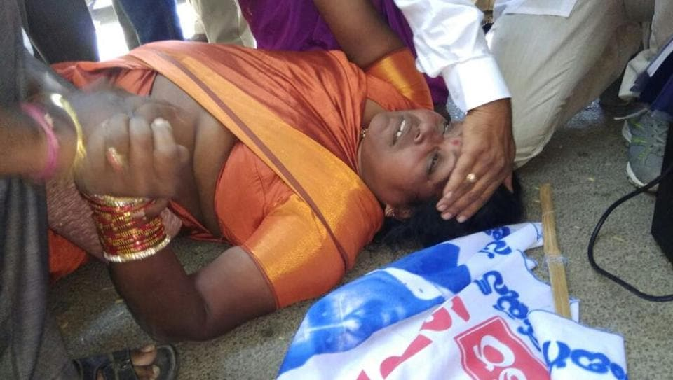 Dalit activist D Bharati from Addagutta in Secunderabad who died during a protest in Hyderabad on Monday. (HTPhoto)