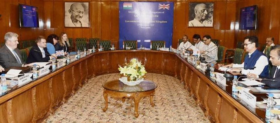 A delegation from the United Kingdom led by the minister of state for Immigration Brandon Lewis hold talks with the delegation led by the MoS home affairs Kiren Rijiju in New Delhi on November 6.