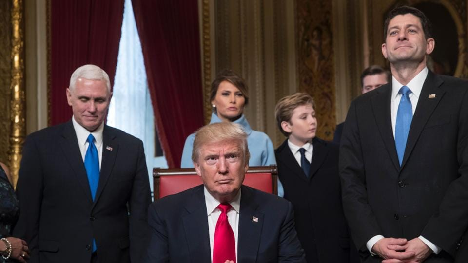 US President Donald Trump along with the Congressional leadership and his family in the President's Room of the Senate, at the Capitol in Washington DC.