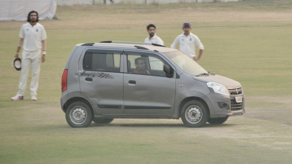The car was driven into the middle of the ground during the Ranji Trophy game between Delhi and Uttar Pradesh.