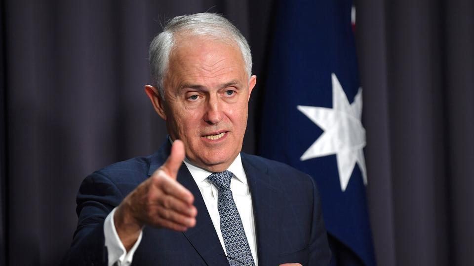 Australia's Prime Minister Malcolm Turnbull at a news conference at Parliament House in Canberra, Australia, on Monday