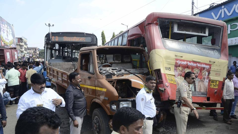 PMPML Bus rammed seven vehicles including another PMPML Bus, Tempo and Two wheelers at Upper Indira Nagar, Bibwewadi in Pune, India, on Monday.
