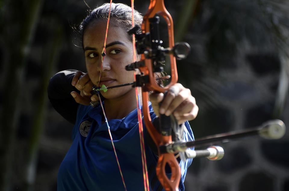 Divya Dhayal  hones her archery skills.