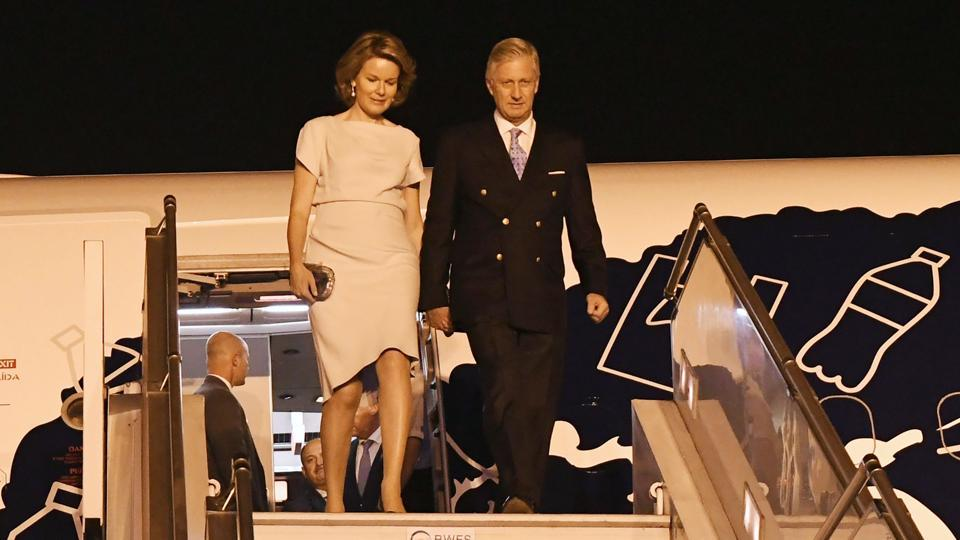 This handout photograph released by the ministry of external affairs shows Belgium's King Philippe and Queen Mathilde arriving in New Delhi on Sunday.