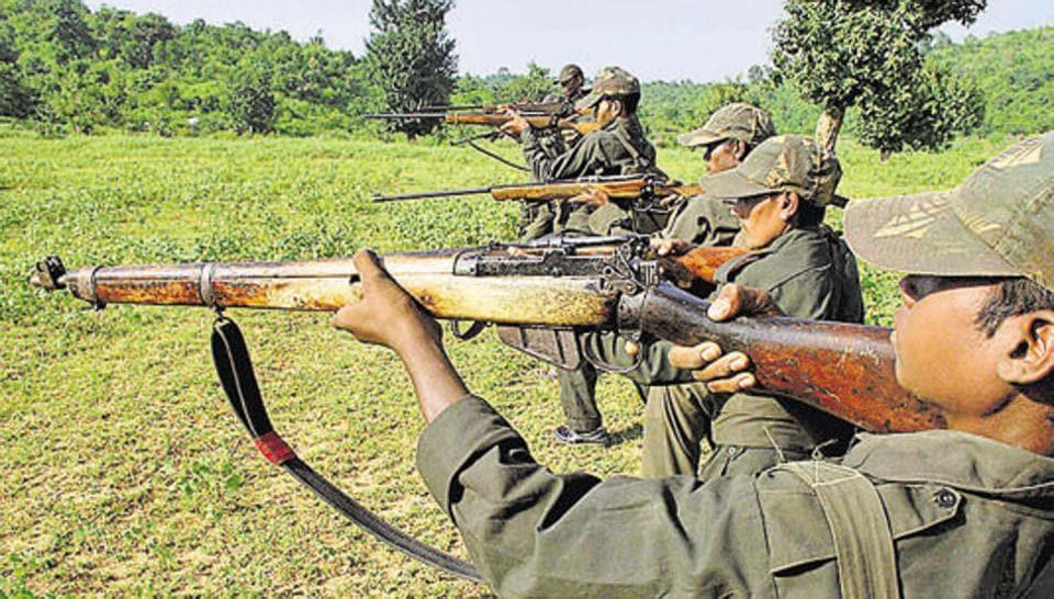 Maoist rebels train in a forest area at Dumariya block in Gaya district of Bihar.