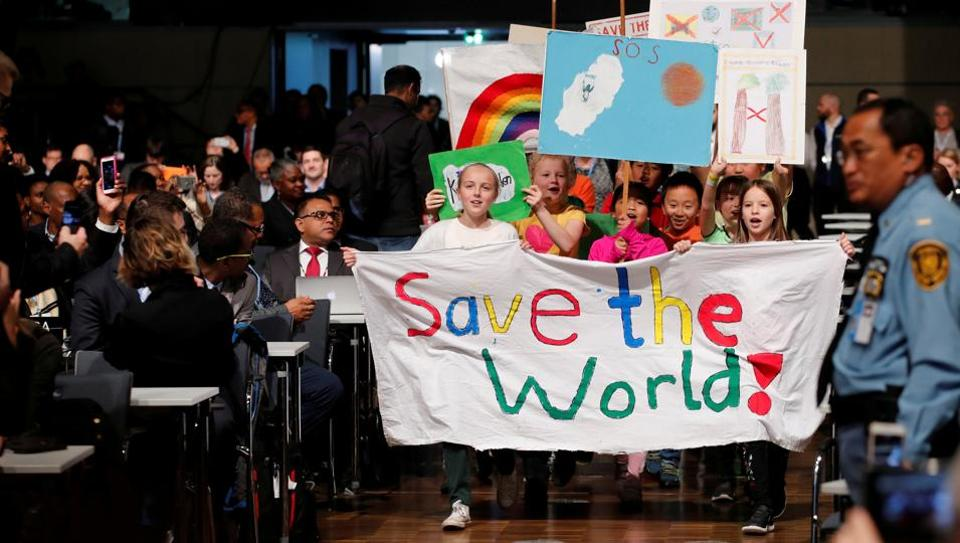 Children seen during a climate march prior to the opening session of the COP23 UN Climate Change Conference 2017 that began in Bonn on Monday.