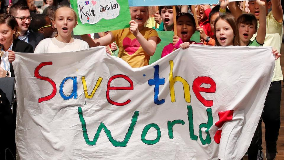 Children are seen during climate march prior to the opening session of the COP 23 UN Climate Change Conference 2017, hosted by Fiji, and being held in Bonn