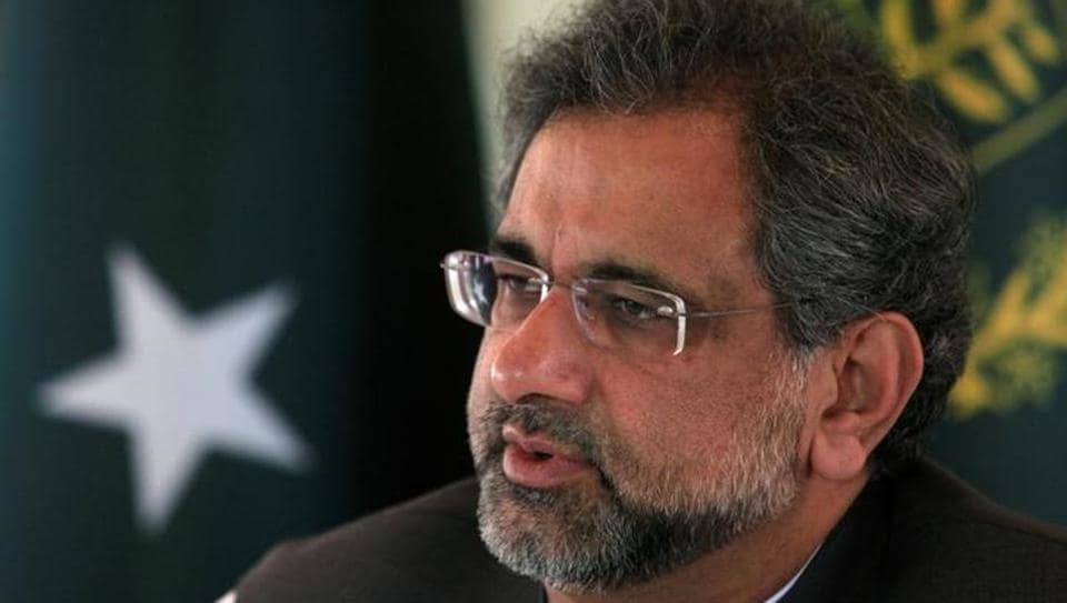 Pakistan's Prime Minister Shahid Khaqan Abbasi speaks with a Reuters correspondent during an interview at his office in Islamabad on September 11.