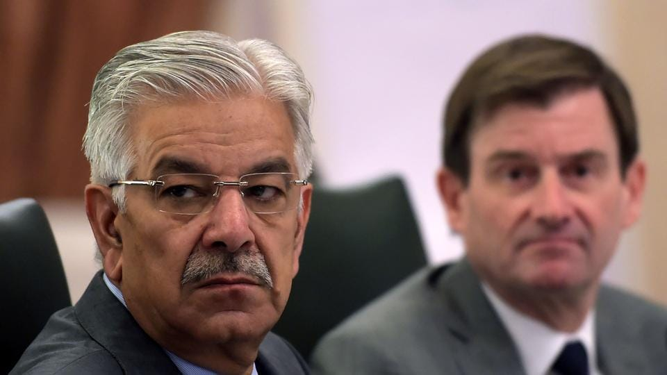 Pakistan foreign minister Khawaja Asif (left) and US ambassador David Hale attend the 4th round of the US-Pakistan Bilateral Dialogue in Islamabad on November 6, 2017. The event, organised by private think tanks, is aimed at improving bilateral relations, and working towards a resolution to the conflict in neighbouring Afghanistan.
