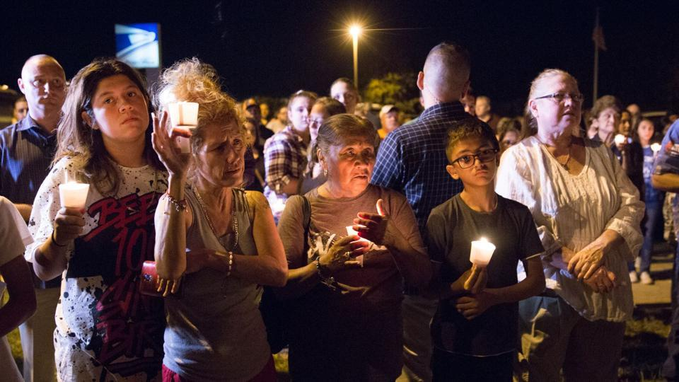 A candlelight vigil following the mass shooting at the First Baptist Church in Sutherland Springs, Texas, that left 26 people dead.