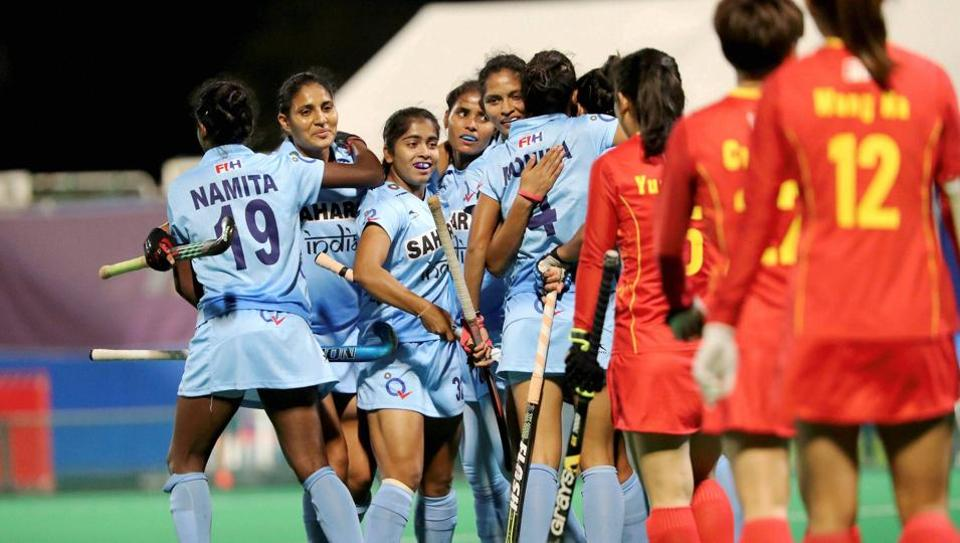 Indian women's hockey team celebrates after beating China to win the women's Asia Cup title in Kakamigahara in Japan on November 5, 2017. With this win, India also qualified for the FIH World Cup  2018.