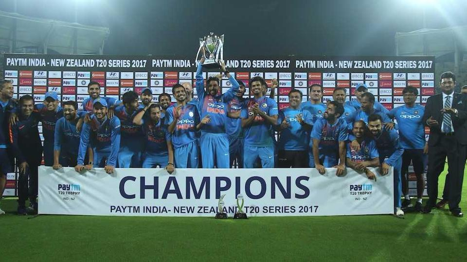 Indian cricket team players celebrates after their win over New Zealand in the 3rd T20 in Thiruvananthapuram.