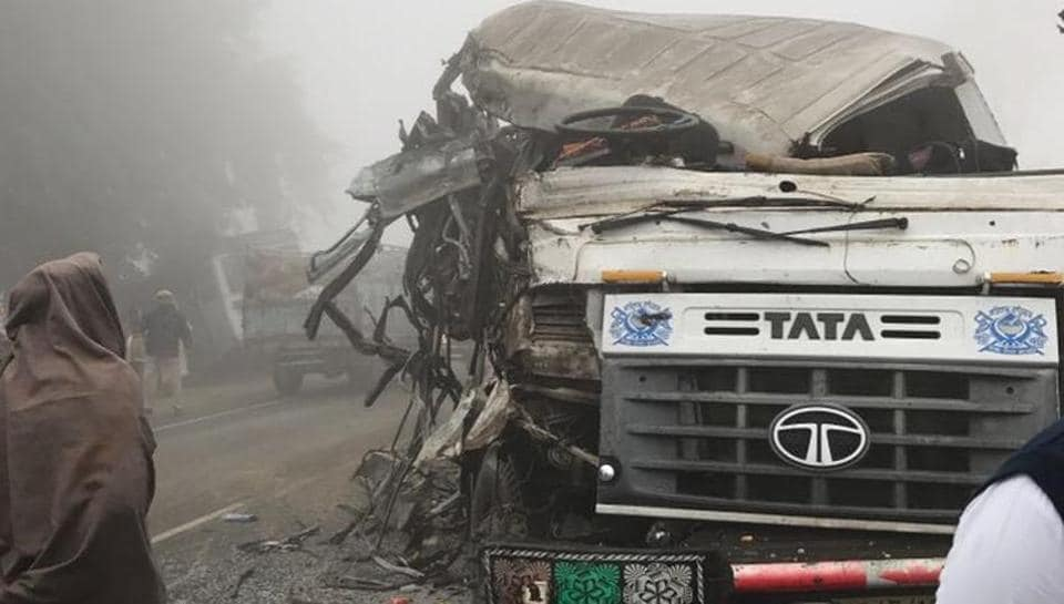Mangled remains of the bus that collided with a truck in Ferozepur on Tuesday morning.