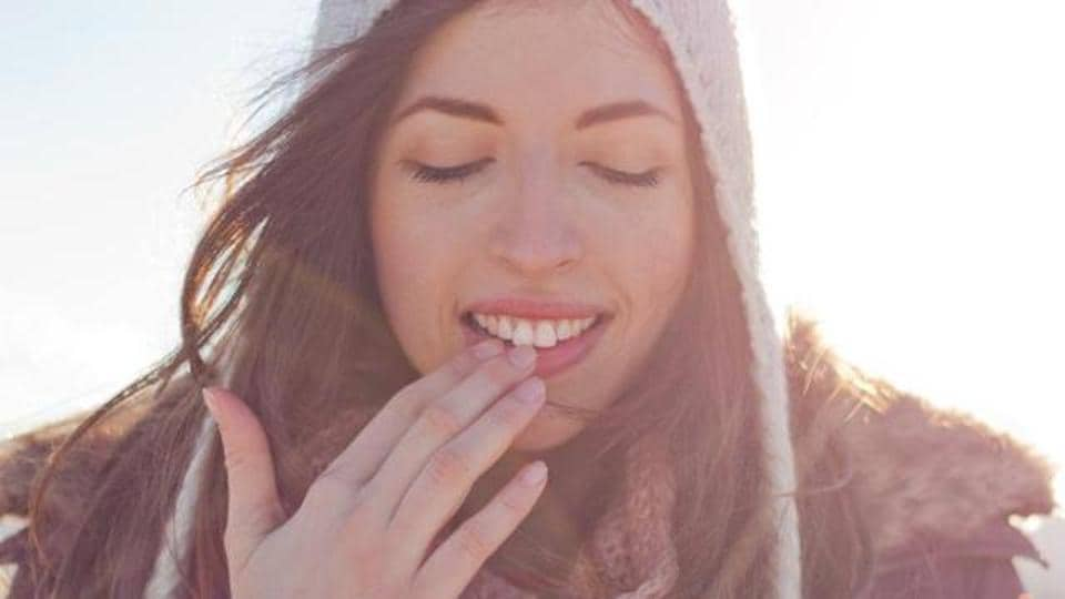 The thin skin of your lips loses moisture rapidly, especially in the winter. So make sure lips are covered with lip balm as often as possible.