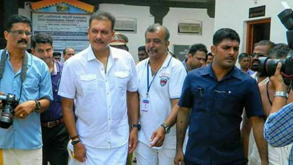 Ravi Shastri visited the famous Padmanabhaswamy temple in Thiruvananthapuram ahead of the third and deciding Twenty20 International against New Zealand.