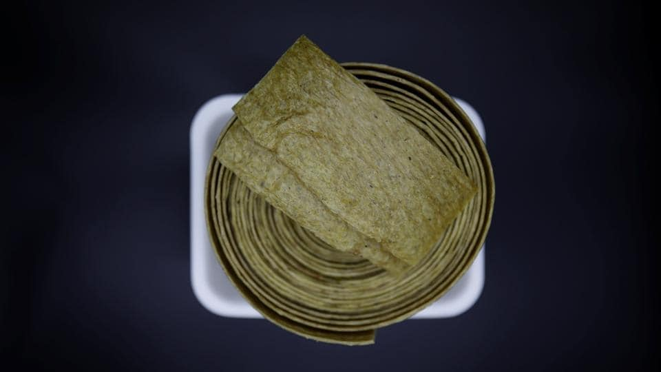 A wound up roll of  'Injogogi', which is a textured vegetable protein, at a North Korean food store run by defector Hong Eun-hye in Seoul, South Korea. 'Back in the day, people had injogogi to fill themselves up as a substitute for meat,' said Cho Ui-sung, a North Korean who defected to the South in 2014. 'Now people eat it for its taste.' (Kim Hong-Ji / REUTERS)