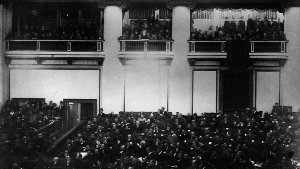 The historic session of the Constituent Assembly at the Tauride Palace, Petrograd in 1917. With communication lines overrun by pro-Bolshevik workers and soldiers, the Provisional Government was cut off from the outside world and eventually surrendered to the seizing forces. With the fall of the Winter Palace the Congress announced transfer of power to the Soviets, effectively ratifying the results of the Revolution. (Hulton Archive / Getty Images)
